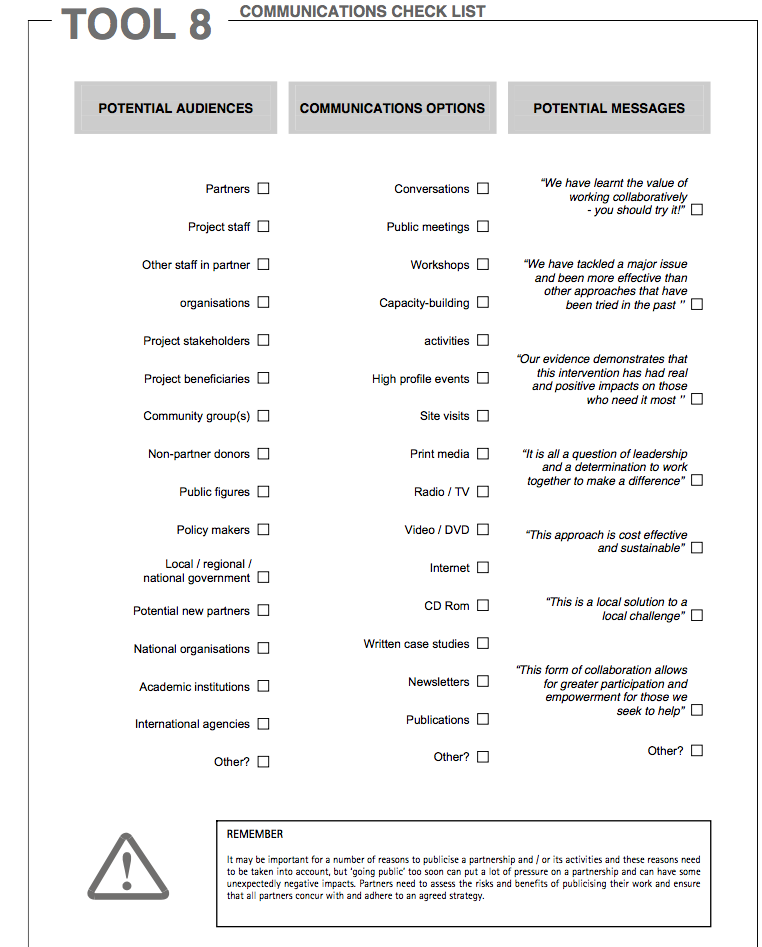 Bonner guide to working with collaboratives communication checklist pronofoot35fo Image collections